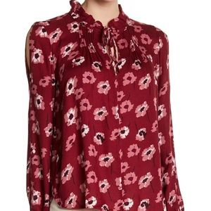 Lucky Brand Floral Boho Tie Neck Peasant Blouse